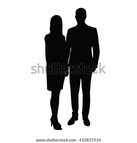 Man and woman in formal wear standing side by side. Vector silhouette of couple. A man in a suit, a woman in a skirt with high-heeled shoes. Traders, retailers, couples, businessmen, lawyers, managers - stock vector