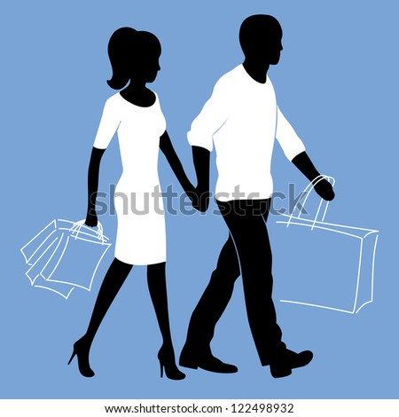Man and woman is walking with shopping bags - stock vector