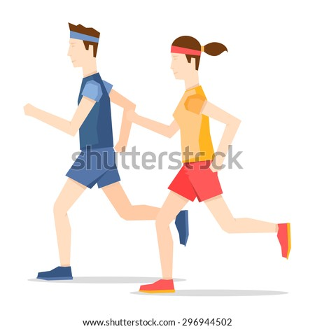 Man and woman jogging, sports, jogging. Healthy lifestyle. Flat style vector illustration. - stock vector