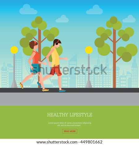 Man and Woman Jogging Together on city view background, Running Man and Woman Outdoor, Jogging Couple , healthy lifestyle conceptual vector illustration. - stock vector
