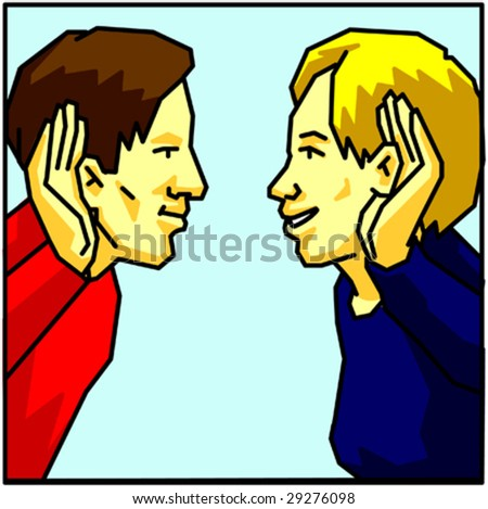 man and woman look and hear each other - stock vector