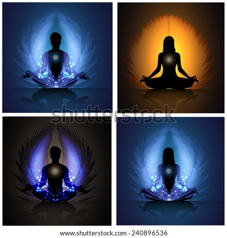 Man and woman meditation. yoga. Light abstract background. many, various - stock vector