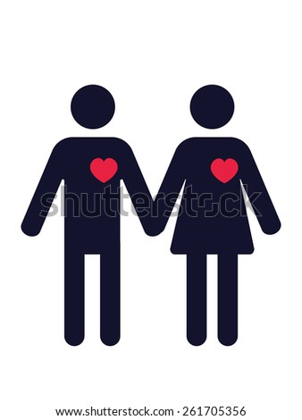 man and woman pictogram with red hearts