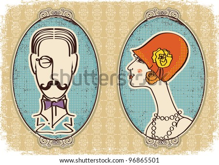 Man and woman portraits.Vector vintage image - stock vector