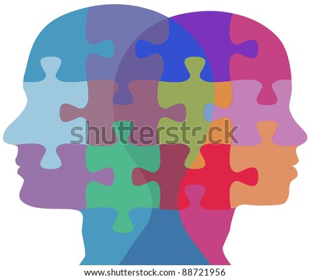 Man and Woman profiles face opposite ways in couple problem jigsaw puzzle - stock vector