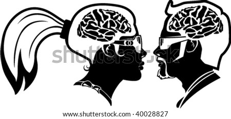 Man and woman Profiles with Brains exposed