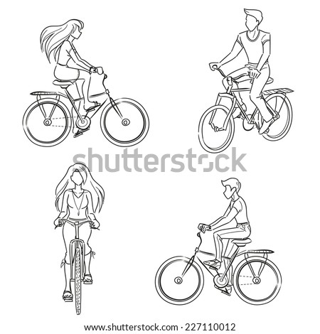 Man and woman riding a bicycle. Young girl and guy wearing summer clothes. Front and profile view. Vector monochrome, drawing by lines.