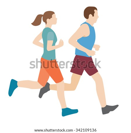 man and woman running - stock vector
