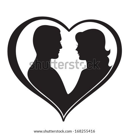Man and Woman Silhouette in Heart Shape. Vector illustration - stock vector