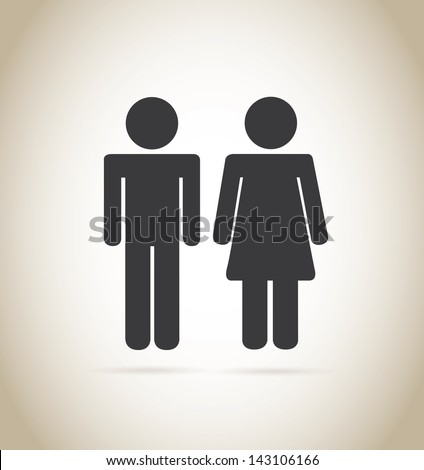 man and woman silhouette over beige background vector illustration - stock vector
