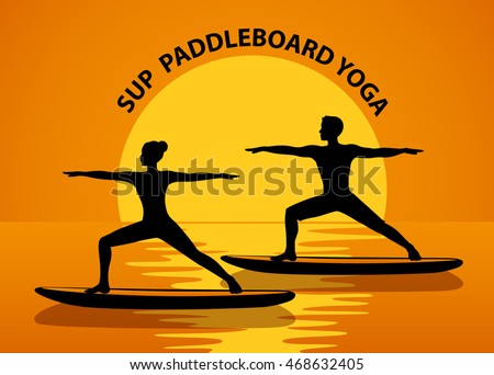 Man And Woman Silhouettes In Warrior Pose At Sunset Stand Up Paddle Yoga Workout On