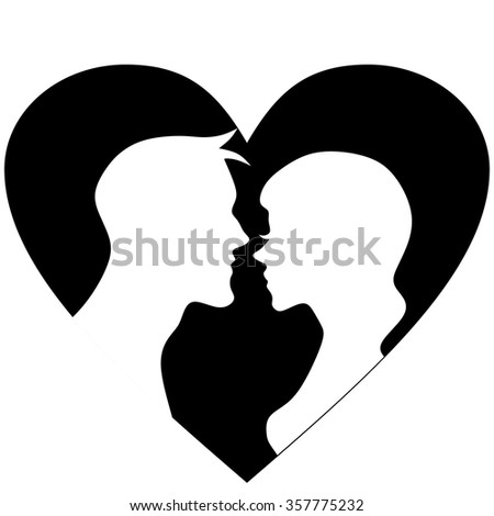 Man and woman silhouettes. Kiss vector illustration.