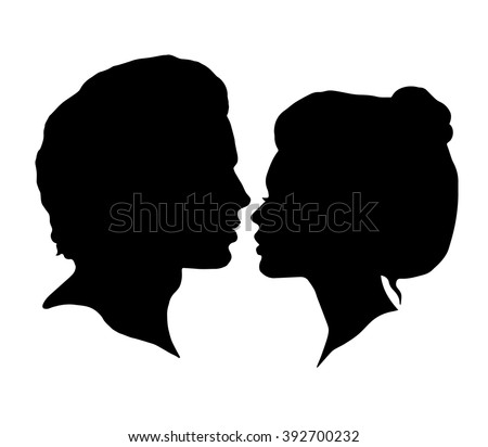 Man and Woman silhouettes on a white background. Black faces profiles in vector. Couple kissing - stock vector