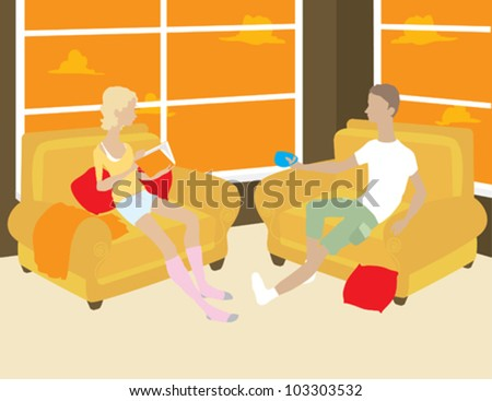 Man and Woman Sitting in Chairs in the Evening - stock vector