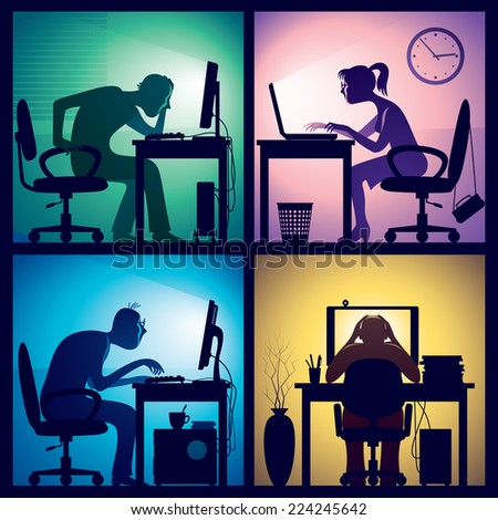 Man and woman sitting in front of screens in a dark office room. Eps8 CMYK Organized by layers. Global colors. Gradients used. - stock vector