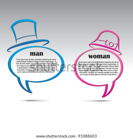Man and woman speech bubbles. Abstract vector background. - stock vector