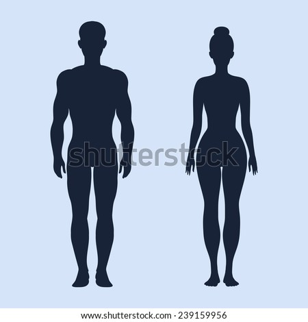 Man and woman standing vector silhouettes on the cyan background - stock vector