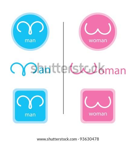 Man and woman symbol set - stock vector