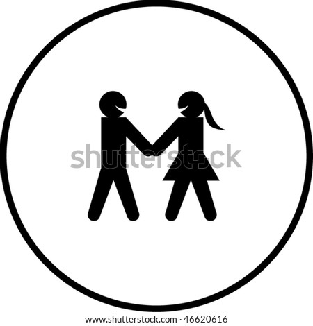 man and woman taking hands symbol