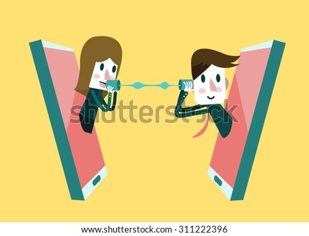 Man and woman talking on a mobile phone. flat design element. vector illustration - stock vector