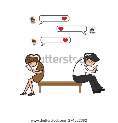 Man and woman text love on mobile phone - stock vector