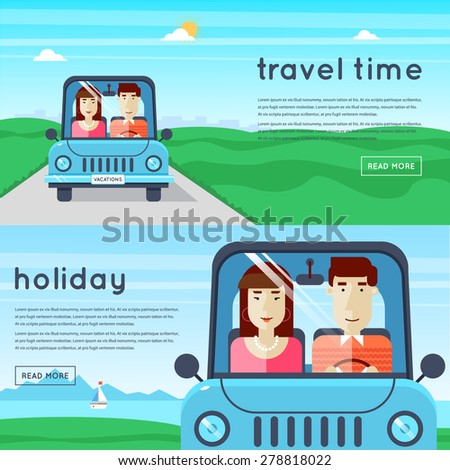 Man and woman traveling by car. World Travel. Planning summer vacations. Summer holiday. Tourism and vacation theme. 2 banners. Flat design vector illustration. - stock vector