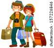 man and woman traveling together - stock photo