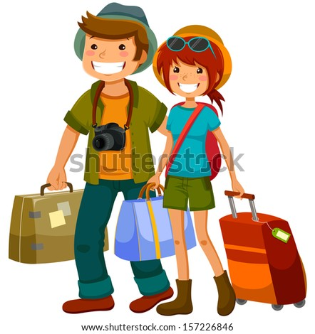 man and woman traveling together - stock vector