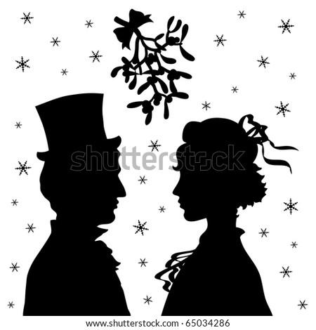 Man and woman under Christmas mistletoe. Vector file. - stock vector
