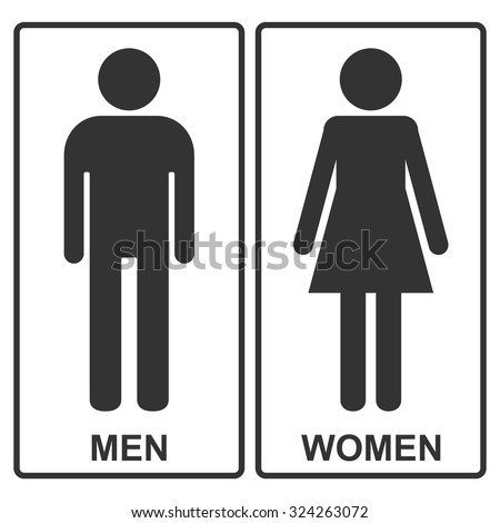 Man and Woman vector icons or toilet signs. Pictogram for restroom.  - stock vector