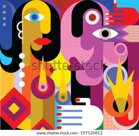 Man and Woman - vector illustration. Romantic dinner. Modern abstract art. - stock vector