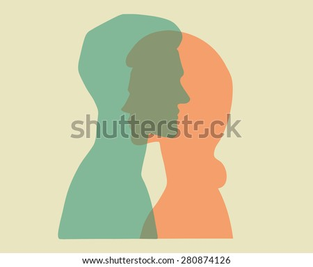Man and woman. Vector portraits of a couple. Bold graphic style, intersecting transparent layers. Relationship between man and woman. Concept illustration, vector art, logo design, packaging. - stock vector