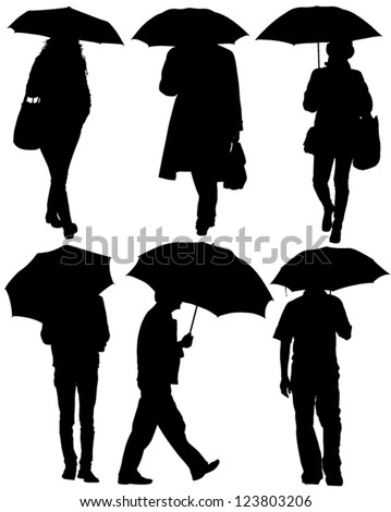 Man and Woman with an Umbrella Silhouette on white background