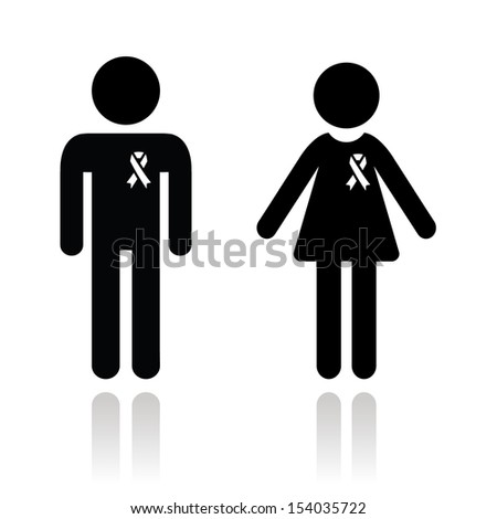 Man and woman with awareness ribbons icons - stock vector