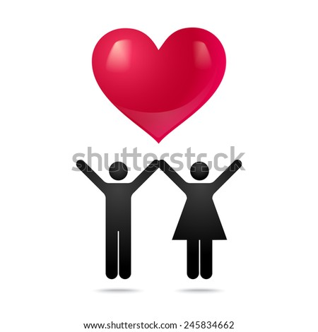 Man and woman with big red heart - stock vector