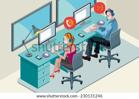 Man and woman with computer, smiling during a telephone conversation. They work with headset in a call center. - stock vector