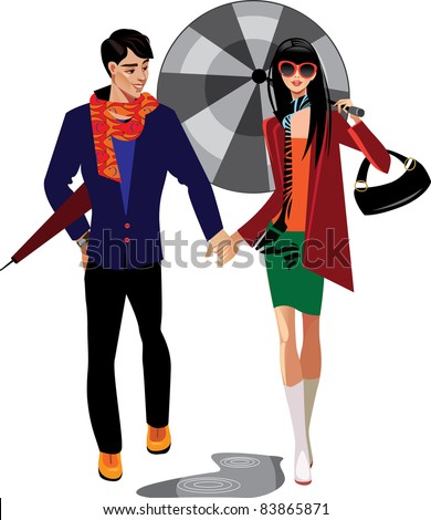 man and woman with umbrella - stock vector