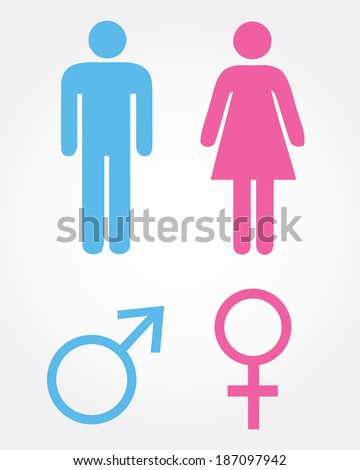 Man and Women Icon Set - Vector - stock vector