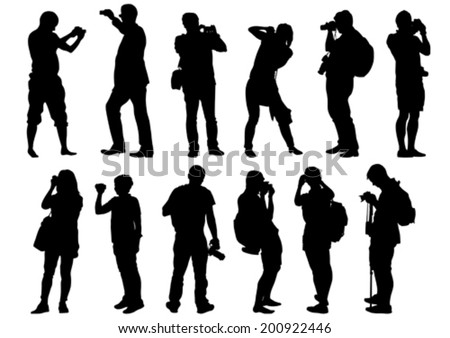 Man and women with a camera on white background