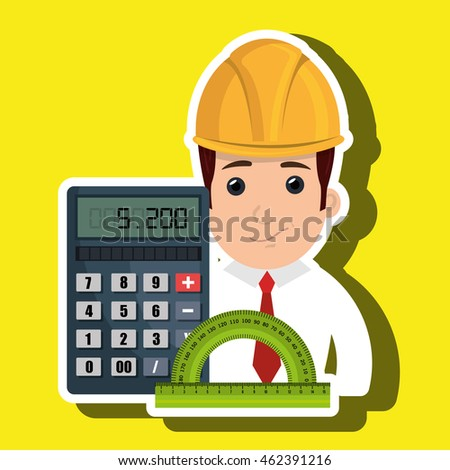 man architecture calculator rule vector illustration graphic