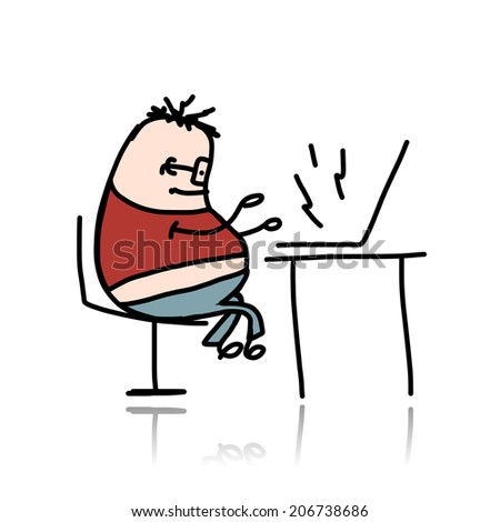 Man at office working for laptop - stock vector