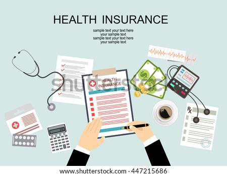 Man at the table fills in the form of health insurance. Healthcare concept. Vector illustration flat design style.  - stock vector