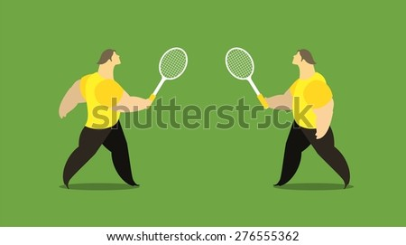 man athletes playing tennis are holding rackets - stock vector