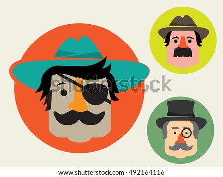 Man avatar faces with hat