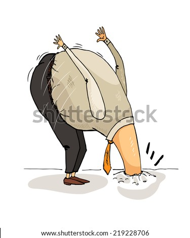 Man avoids problems. It behaves like an ostrich. - stock vector
