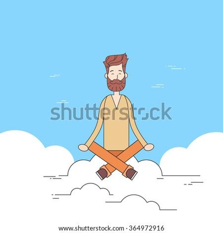 Man Beard Sitting On Cloud Mediation Yoga Lotus Pose Hipster Guy Thin Line Vector Illustration - stock vector