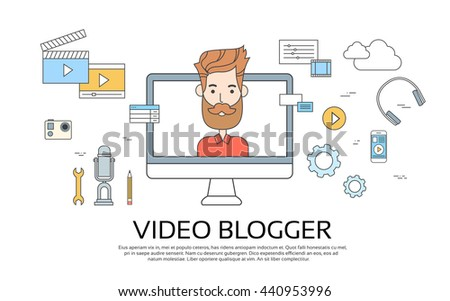 Man Blogger Video Computer Blogging Concept Flat Vector Illustration - stock vector