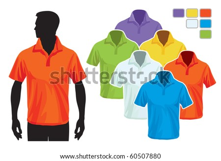 Man body silhouette with colorful collection of polo shirts - stock vector