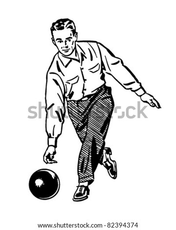 Man Bowling 2 - Retro Clipart Illustration - stock vector