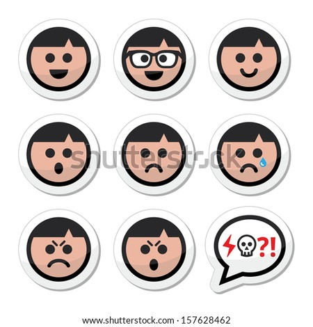 Man, boy faces, avatar vector icons set - stock vector
